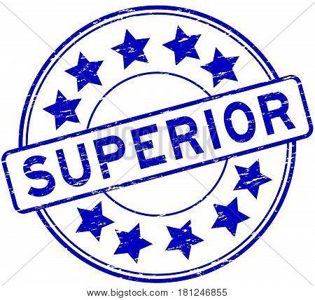 Grunge blue superior with star icon round rubber stamp