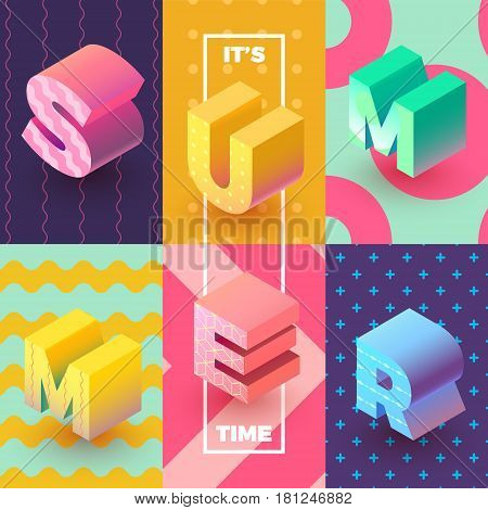 it's Summer Time Isometric Sign with seamless paterns