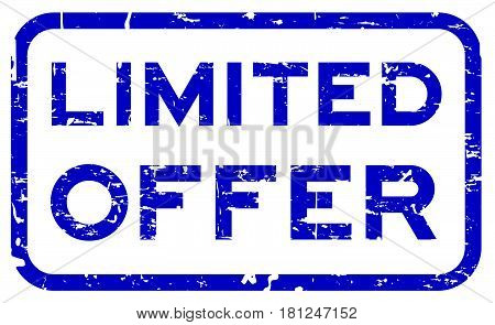 Grunge blue limited offer square seal stamp on white background