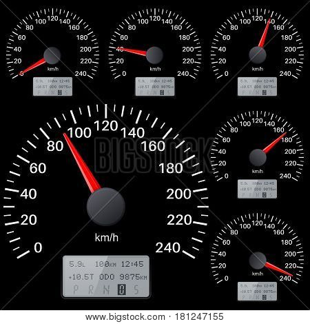 Black speedometer scales. Kilometers per hour. Vector illustration