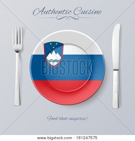 Authentic Cuisine of Slovenia. Plate with Slovene Flag and Cutlery
