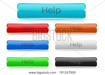 Help buttons. Glass rectangular 3d icons. Vector 3d illustration isolated on white background