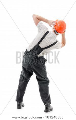 Figure confident worker isolation on white background