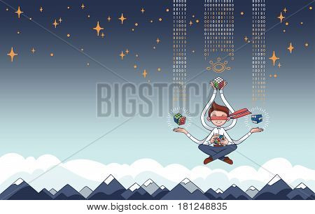 Dynamic Information Technology Concept with IT Professional Multi-Tasking while Meditating - Background with Copyspace of Mountain Landscape and Clouds in Flat Vector, Contrasting Blue with Gradient