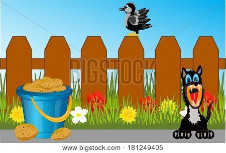 Fence in herb with flower and animals with bird