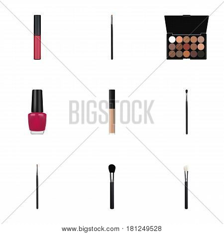Realistic Varnish, Multicolored Palette, Brush And Other Vector Elements. Set Of Greasepaint Realistic Symbols Also Includes Contour, Cream, Brow Objects.