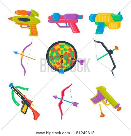 Vector set of water pistol, bow, crossbow, darts for summer children hobbies. Kids sport and game icon.