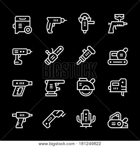 Set line icons of electric tools isolated on black. Vector illustration