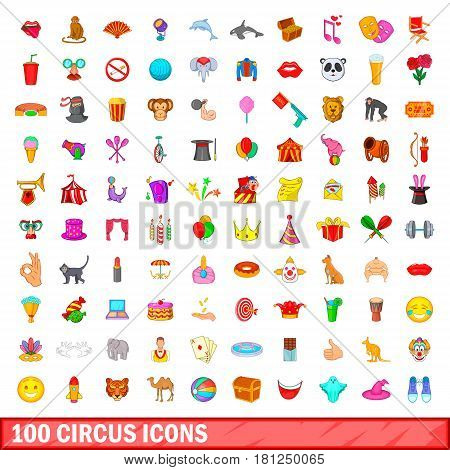 100 circus icons set in cartoon style for any design vector illustration