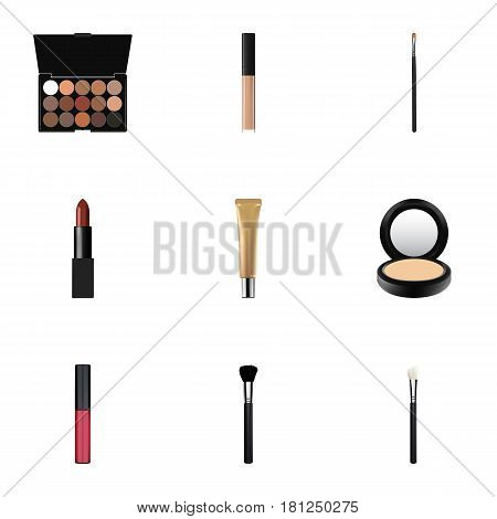 Realistic Collagen Tube, Multicolored Palette, Powder Blush And Other Vector Elements. Set Of Cosmetics Realistic Symbols Also Includes Blusher, Cream, Collagen Objects.
