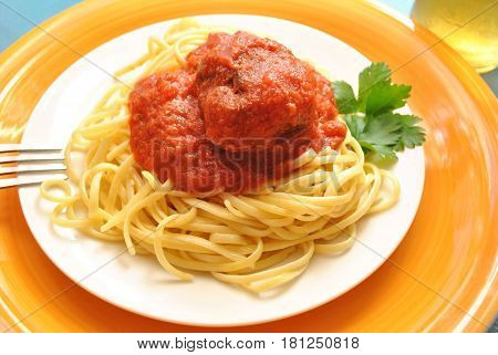A Meal of a Meatball and Pasta