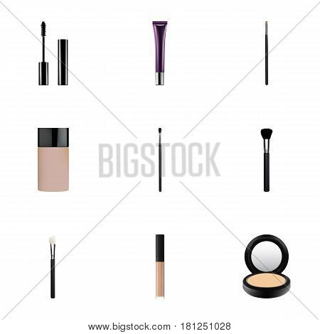 Realistic Eyelashes Ink, Concealer, Powder Blush And Other Vector Elements. Set Of Maquillage Realistic Symbols Also Includes Collagen, Contour, Eyelashes Objects.