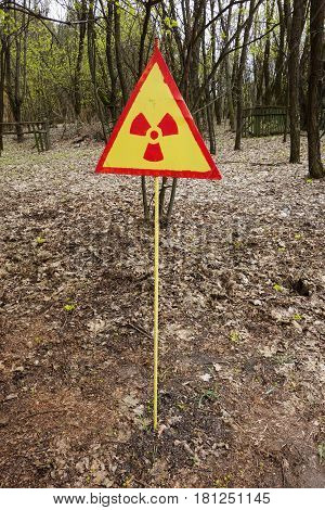 Radioactive sign in Chernobyl Exclusion Zone, Ukraine