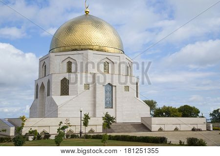 The monument memorial sign `The adoption of Islam` in the ancient city Bolgar in Kazan, Tatarstan, Russia