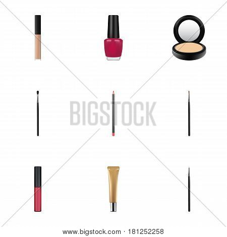 Realistic Cover, Make-Up Product, Mouth Pen And Other Vector Elements. Set Of Greasepaint Realistic Symbols Also Includes Stick, Liquid, Varnish Objects.