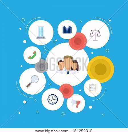 Flat Loudspeaker, Office, Clock And Other Vector Elements. Set Of Employment Flat Symbols Also Includes Telephone, Libra, Manager Objects.
