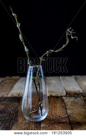 Dry flowers in a glass vase on a black background