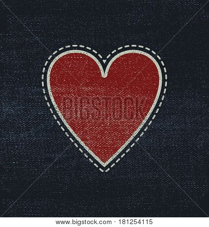 Blue jeans fabric with heart for Valentines Day Sale. Eps 8 vector file.