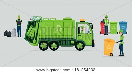 A garbage truck driver with recycle bins.