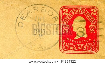 GOMEL, BELARUS, APRIL 8, 2017. Stamp printed in USA shows image of  The George Washington was an American politician and soldier who served as the first President of the United States, circa 1906.