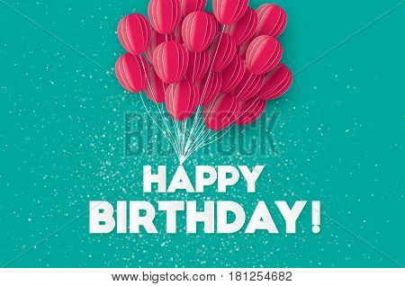 Realistic Flying Paper cut balloons. Colorful decoration for party, celebration, banner, card, gift. Pink Origami bunch baloons. Happy Birthday Greeting card. Vector Illustration.
