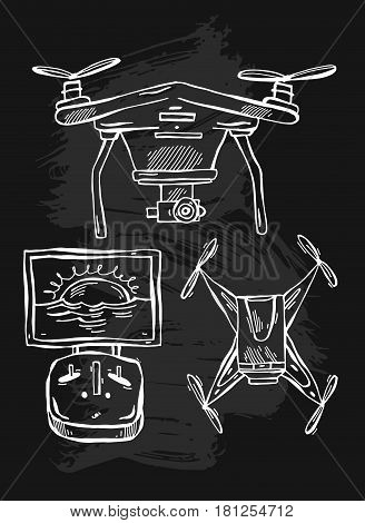 Hand drawn vector lined illustration of drones isolated on white background.Delivery drones with camera.Design elements for drones logo, quadcopter delivery company.Drones icons set.