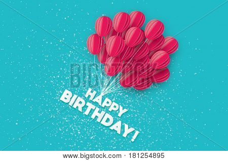 Realistic Flying Paper cut balloons. Colorful decoration for party, celebration, banner, card, gift. Pink Origami bunch baloon. Happy Birthday Greeting card. Vector Illustration.