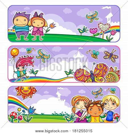 Vector set of horizontal banners, with little children in summer location on playground, in park. Template for advertising brochure, website banners, or kids party invitation. Funny cartoon character. Vector illustration