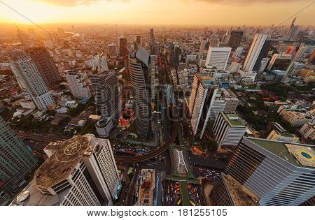 Skyscrapers And Sathorn Intersection, Bts Chong Nonsi, Bangkok, Thailand