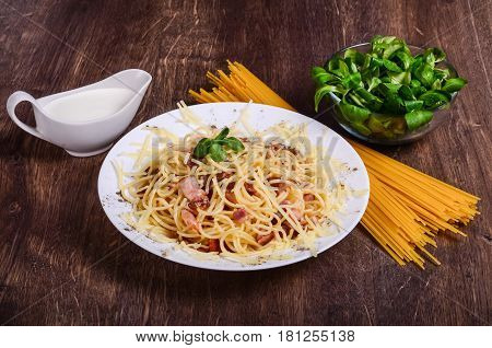 Meat Paste. Spaghetti With Bacon