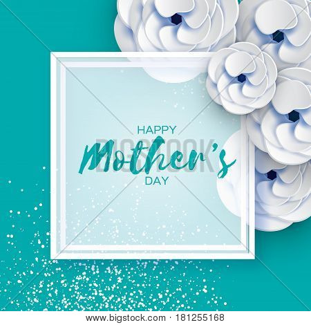 Happy Mothers Day. White Floral Greeting card. Women's Day. Paper cut flower. Floral holiday. Origami Beautiful bouquet. Square frame. Space for text. Blue background. Vector illustration.