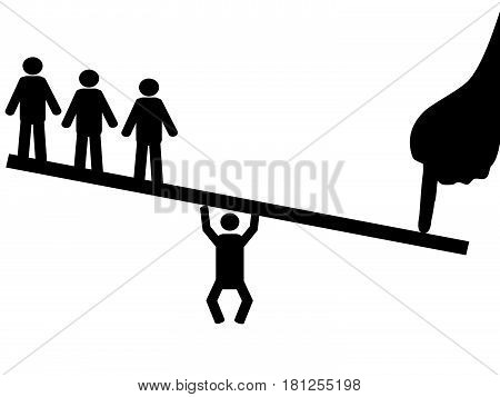 the concept of people balance against finger on seesaw