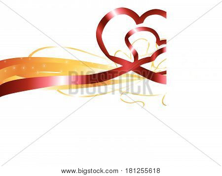 red heart shape ribbon on white background