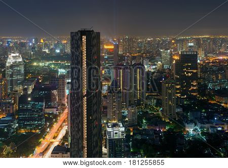 Skyscrapers in Sathorn District at night, Bangkok Thailand