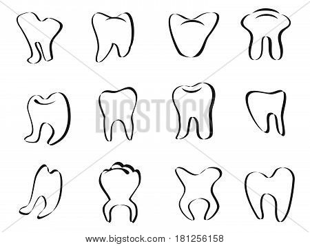 isolated Abstract tooth icon on white background