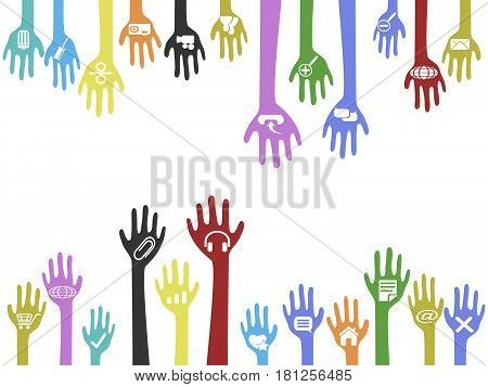 The background of hands with web icons with copy space