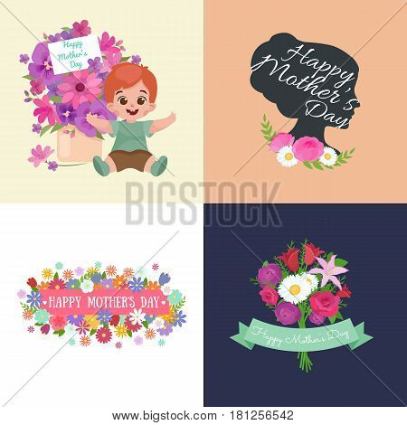 Set of Happy mothers day cards with greeting text and kids, baby boy and girl with bouqkuet of flowers in flat style, lettering mom celebration poster background design vector illustration.