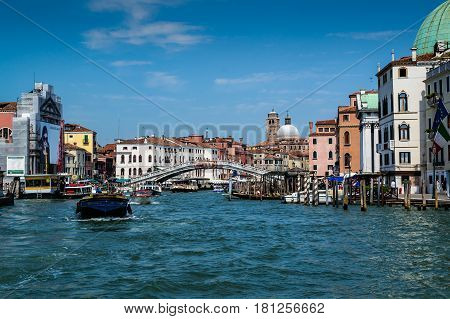 Grand Canal Venice Italy - 04 August 2016: Grand Canal and Scalzi Bridge (Ponte degli Scalzi)