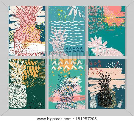 Summer hand drawn abstract textured card set with place for your text. Vector collection of black, white, pink, yellow, blue, rose quartz colored summer cards. Beautiful summer posters with pineapple