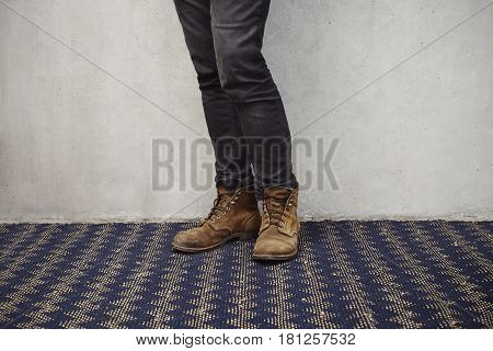 Zig zags and boots in studio shot