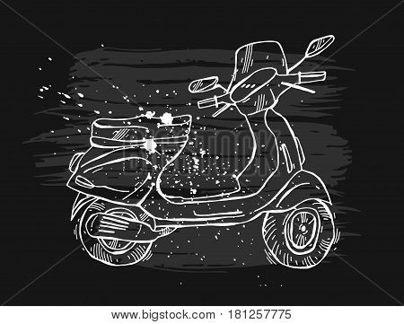 Sketched scooter.Vintage motorroller.Retro hand drawn vector lined moped illustration.Vintage scooter.Moped traveling illustration.Design element for travel sign, ride logo, road trip