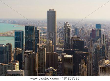 Skyscrapers in Chicago City Skyline Illinois USA