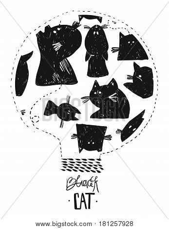 Hand drawn vector abstract illustration of black cats.Design element for Halloween background, sign design, party flayer, halloween greeting card, Halloween Badges and Labels, Cute Halloween Characters