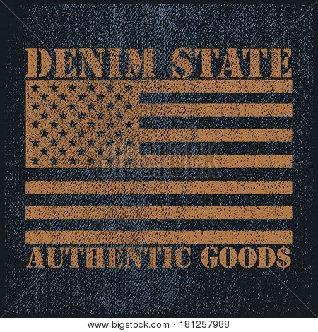 Vintage Denim typography, grunge t-shirt graphics, Artwork apparel stamp, Wear tee print design, goods emblem, vector illustration