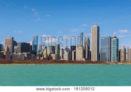 Chicago City and blue lake Chicago illinois USA
