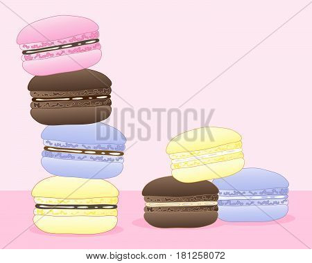 an illustration of colorful macaroons for afternoon tea in summer on a pink background