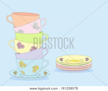 an illustration of colorful tea cups with design for afternoon tea on a light blue background