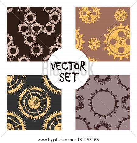 Set Of Vector Seamless Patterns With Mechanism Of Watch. Creative Geometric Black,white Grunge Backg