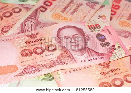 Thai money banknotes isolated 20 and 100 baht on white background