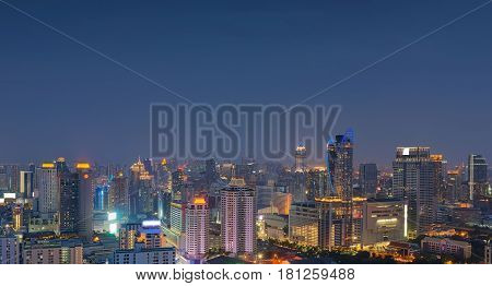 Bangkok City at night, cityskyline of Thailand